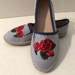 Shoes - Blue, White Stripe Espadrilles.